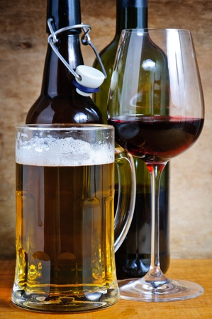 Beer and wine alcohol drinks Stock Photo