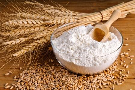 Closeup of wheat, grain and flour