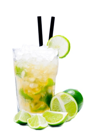 Caipirinha cocktail drink with limes isolated on a white background photo