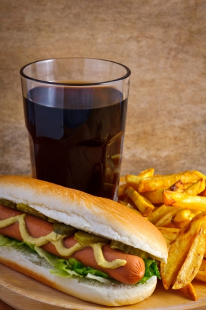 Hot dog menu with cola and french fries photo