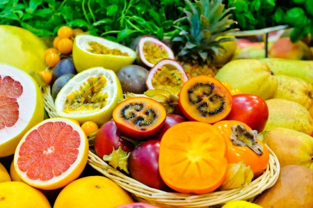 exotic fruits: Mix of different fresh exotic fruits Stock Photo