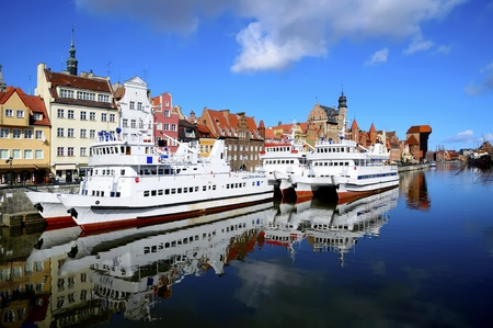 ships in harbor and historic city of gdansk  danzig  in poland
