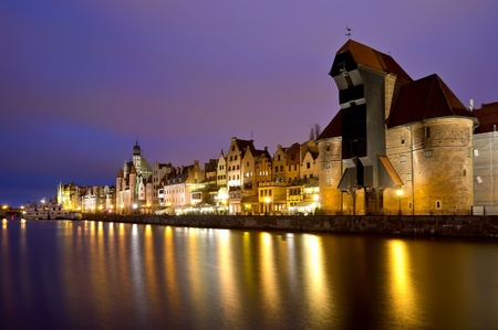 baltic sea: gdansk city riverside in poland at night