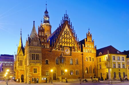 old city hall in wroclaw,  poland at night Stock Photo