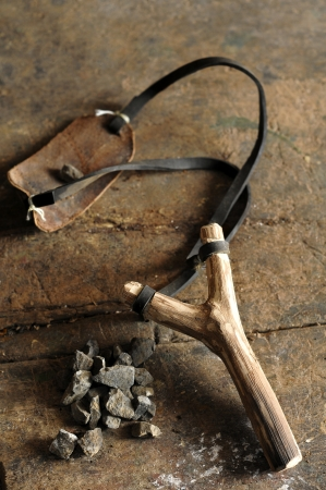 draagdoek: oude houten katapult Stockfoto