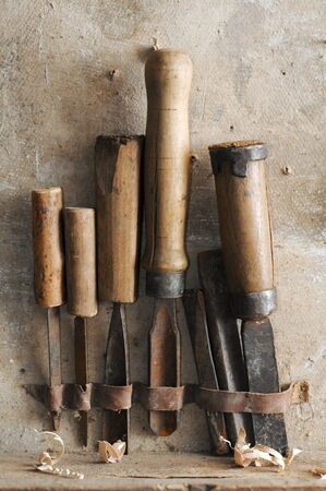carpentry tools: old carpenter chisels tools