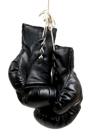 boxing sport: black boxing gloves