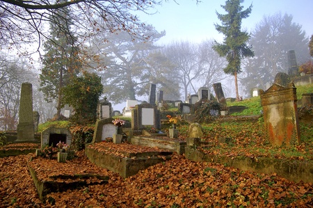 old graveyard on a beautiful autumn day photo