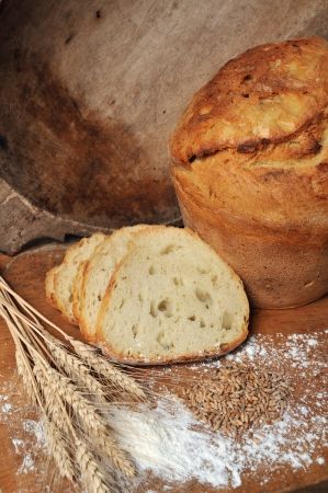 fresh backed bread still life concept photo