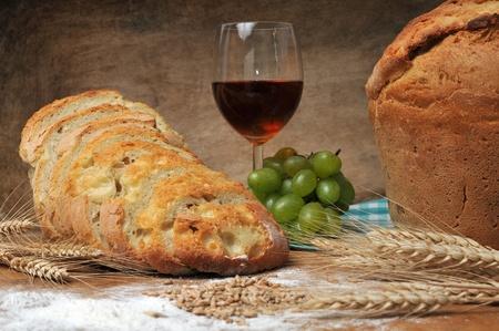 fresh backed bread still life concept