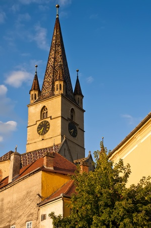 church from historic center in sibiu (Hermannstadt) at sunset photo