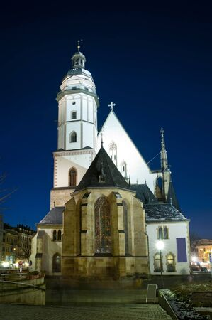 thomas church in leipzig at night photo