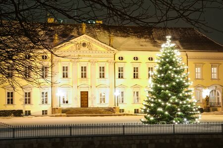 Christmas tree in front of bellevue palace in winter at nicht in Berlin, Germany