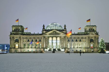 bundestag (reichstag) in winter at night with christmas tree