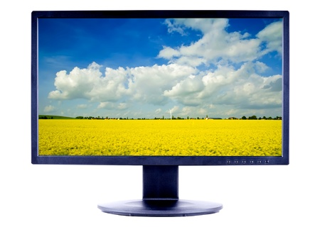 lcd monitor tv screen with landscape isolated on a white background photo