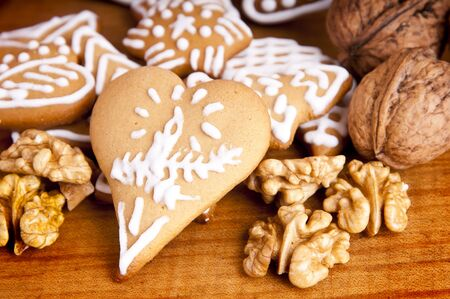heart shaped ginger bread and wallnuts photo