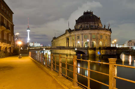 bode: bode museum and tv tower in berlin, germany, at night Editorial