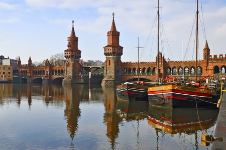 oberbaum bridge over spree river in berlin, germany Editorial