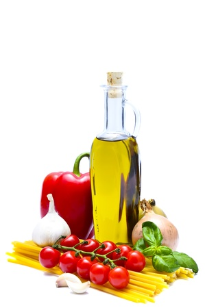 italian food and pasta ingredients isolated on a white background photo