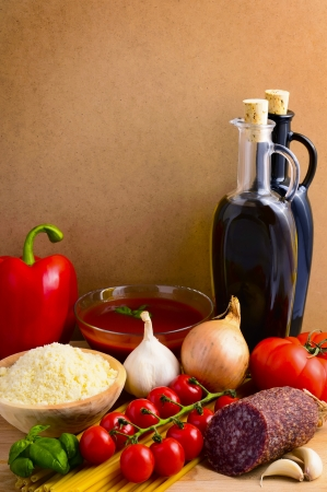 still life concept with italian food photo