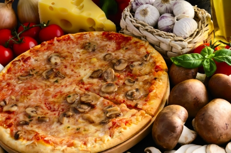 mozzarella cheese: still life with mushroom pizza and ingredients