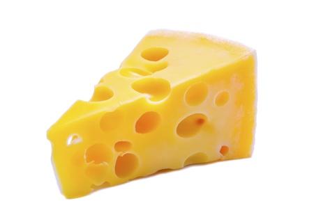 queso: queso suizo aislado en un fondo blanco