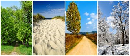 Panorama-Collage mit vier Jahreszeiten Landschaft und Straßen Standard-Bild