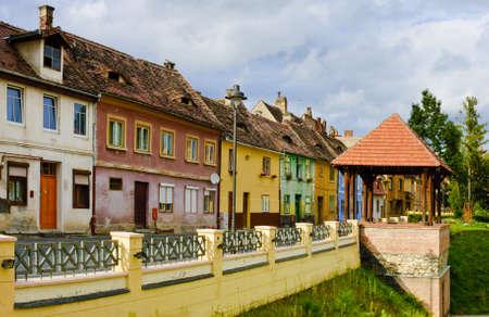 transylvania: beautiful cityscape with colored houses in Sibiu, Transylvania, Romania Stock Photo