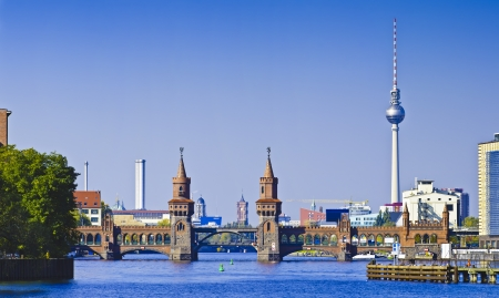 spree: beautiful panorama with oberbaum bridge in berlin, germany