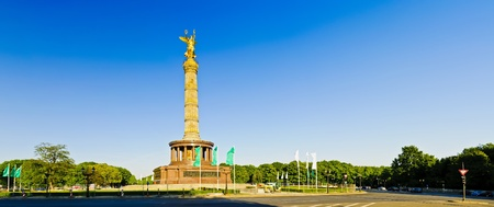 landscape panorama with victory column in berlin, germany