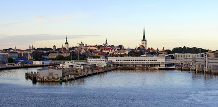 panorama of Tallinn and harbor at dawn