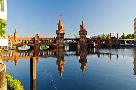 spree: oberbaum bridge over spree river in berlin, germany Stock Photo