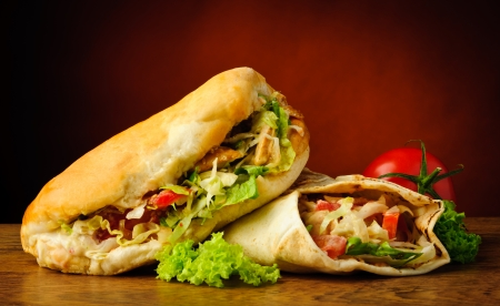 turkish kebab: still life with turkish doner kebab and shawarma Stock Photo