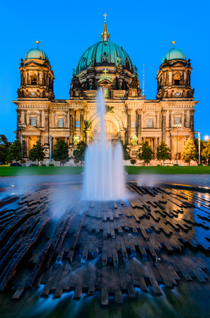 berliner dom (berlin cathedral) in berlin, germany, at dusk photo