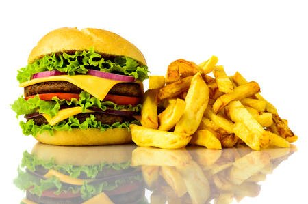 hamburger and french fries on a white background Stock Photo - 23417105