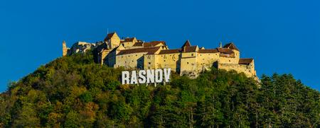 transylvania: panorama landscape with rasnov fortress in transylvania, romania