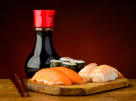 still life with traditional sushi plate and soy sauce photo