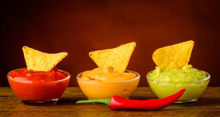 chips and salsa: tortilla chips and nacho dip