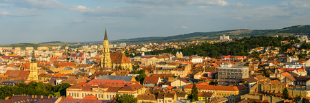 Cluj panorama cityscape with catholic cathedral in Transylvania, Romania