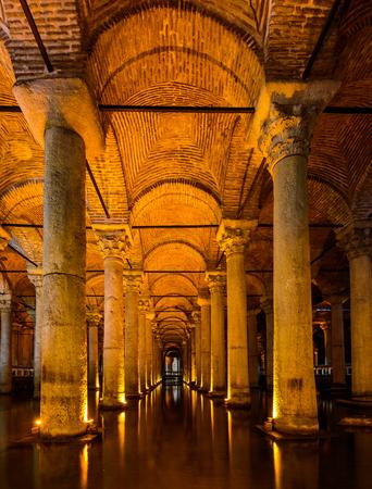 Istanbul, Turkey - September 28, 2015: The Basilica Cisten water reservoir in Istanbul.