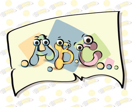 clippings: Illustration of funny abc letters on white notebook pape. Clip-art, Illustration. Illustration
