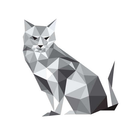 Illustration of origami cat isolated on white background