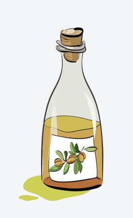 cooking oil: Olive Oil Bottle Sketch. Clip-art, Illustration.