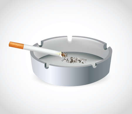 Cigarette in Ashtray. Clip-art, Illustration.