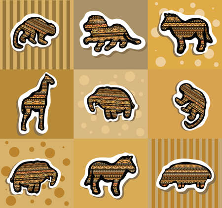 Collection of different african stickers with animals. Clip-art, Illustration. Vector