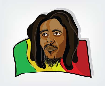 dreadlocks: Hombre Rasta. Ilustraci�n de un hombre rastafari en una bandera jamaicana. Galer�a de im�genes, Ilustraci�n.