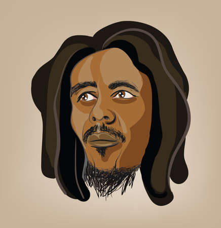 rasta colors: raster illustration of man with dreadlocks. Clip-art, Illustration.