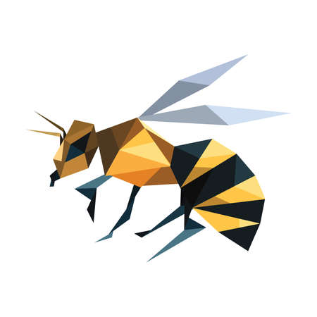Illustration of abstract origami flying bee Illustration