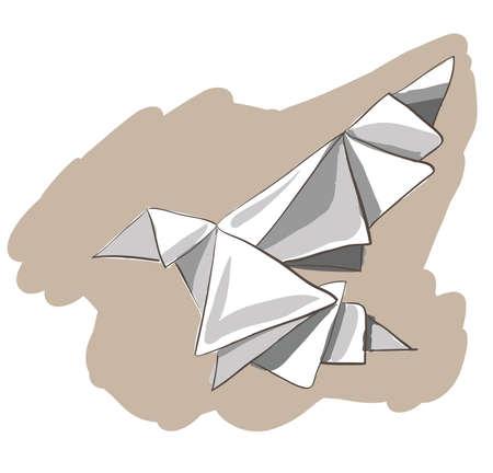 bird clipart: Origami dipinto uccello. Clip-art, illustrazione.