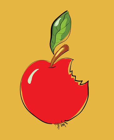 Bitten Red Apple Cartoon . Clip-art, Illustration. Vector